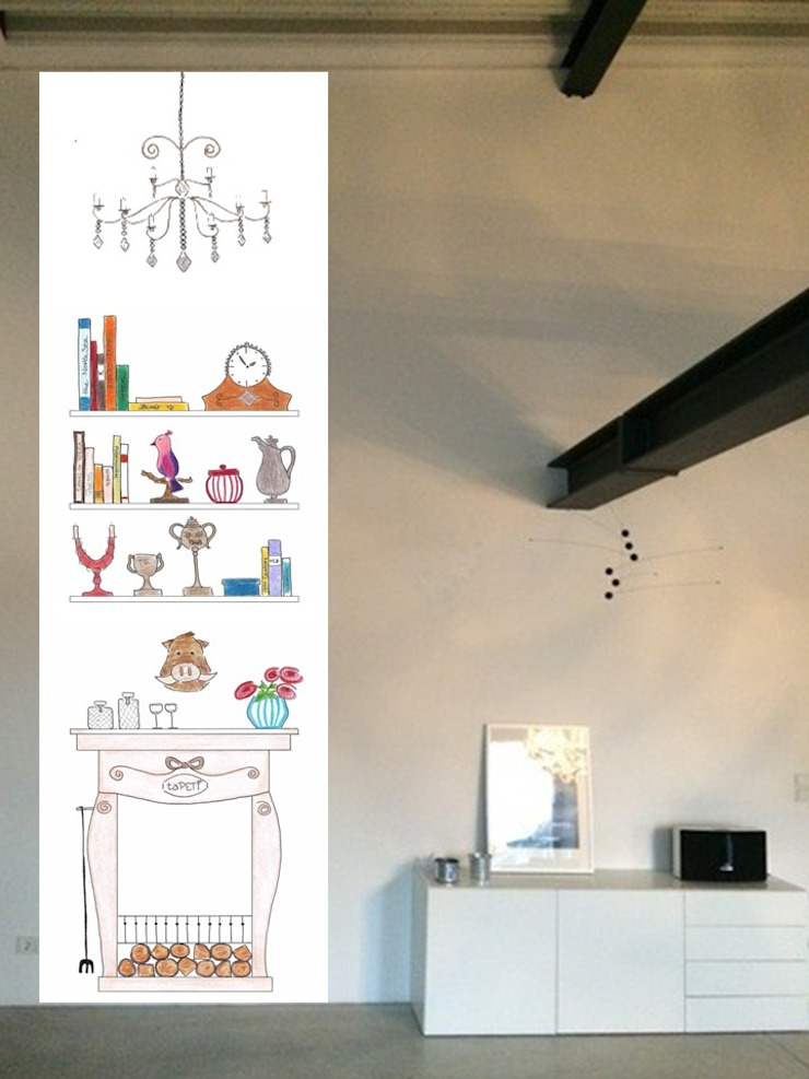taPETI Kaminzimmer coloriert Wohnzimmer von taPETI