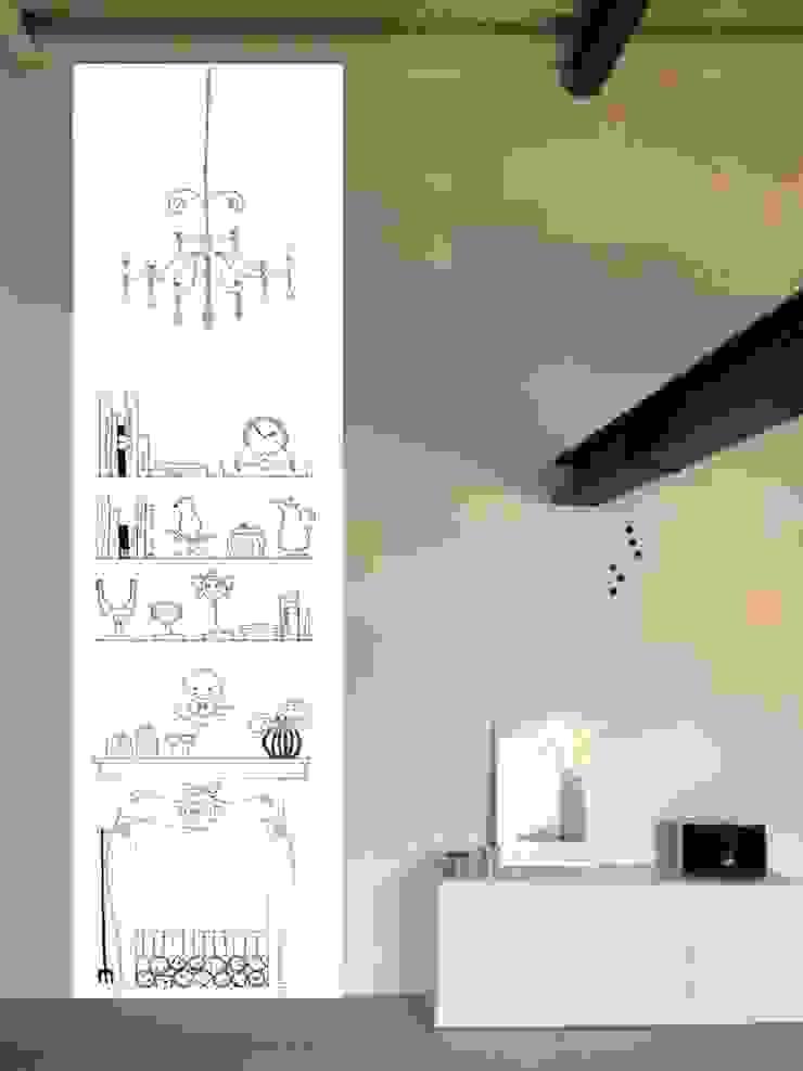 taPETI Kaminzimmer schwarz-weiß Wohnzimmer von taPETI