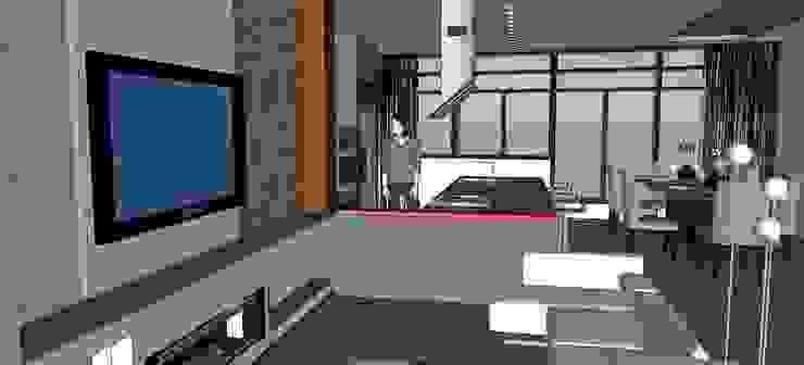 Vista del salón - comedor - cocina de ARQUISURLAURO S.L.P. Moderno