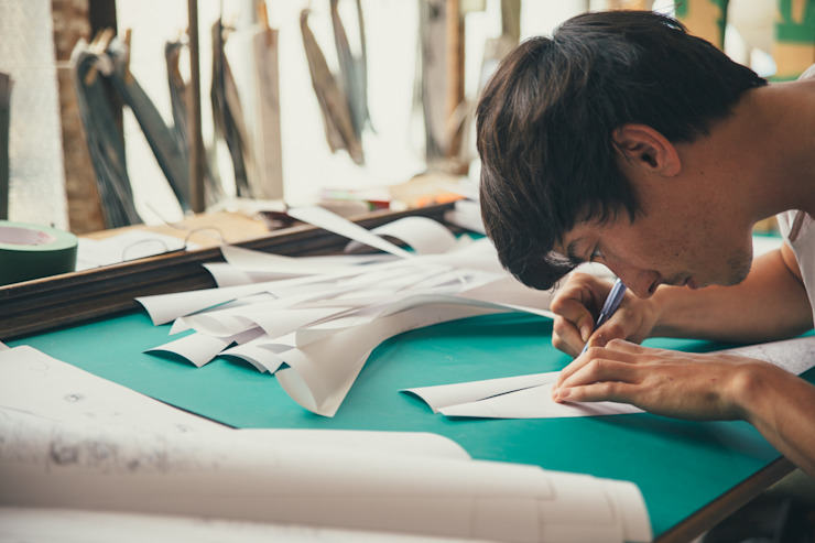 Cutting the gores by hand: modern  by Bellerby and Co Globemakers, Modern