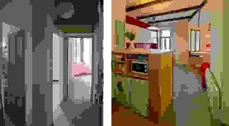 Les pièces de vie avant et après (depuis l'entrée) Salon moderne par Atelier RnB Moderne