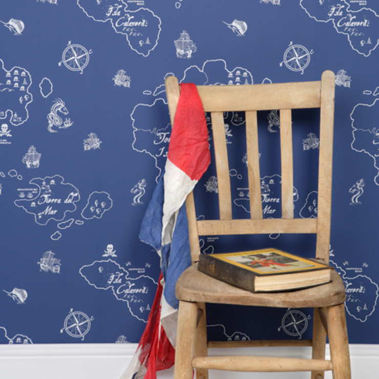Boys Wallpaper in Pirate Marine Blue: colonial  by Cuckooland, Colonial