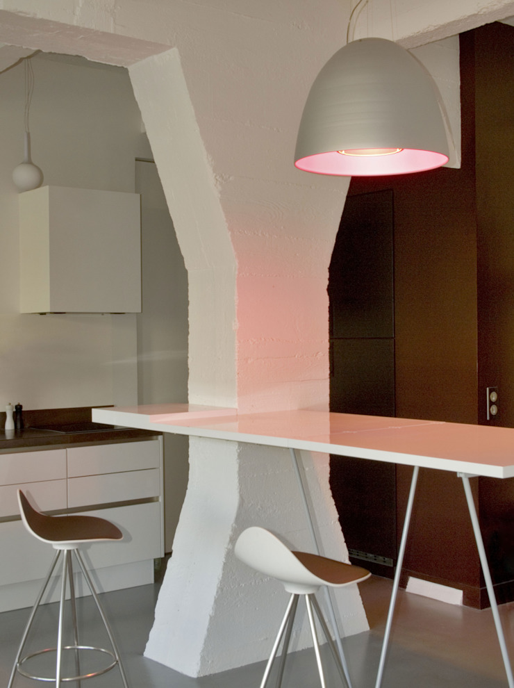 LOFT 19—PARIS XIX Industrial style dining room by Agence d'architecture Odile Veillon / ARCHI-V.O Industrial