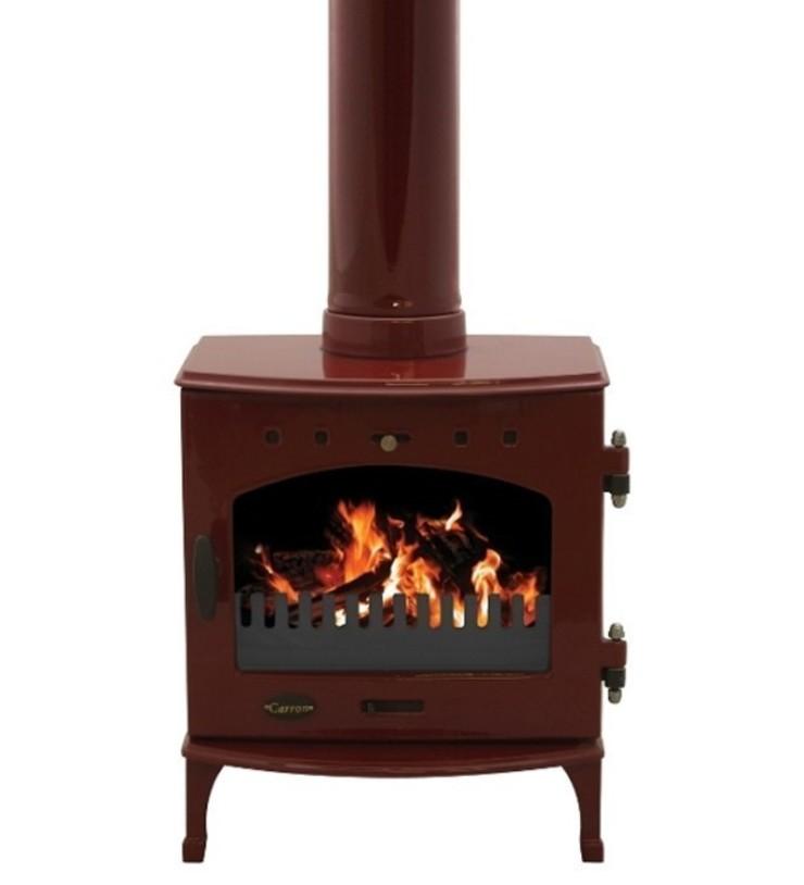 Carron Red Enamel 4.7Kw Multi Fuel DEFRA Approved Stove: modern  by Direct Stoves, Modern
