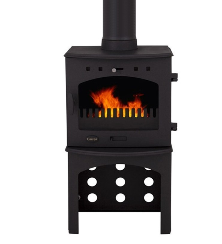 Carron Matt Black 4.7kW Multi Fuel DEFRA Approved Stove With Log Store: modern  by Direct Stoves, Modern