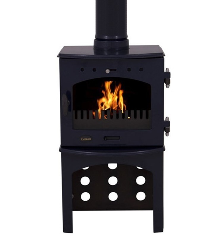 Carron Blue Enamel 4.7kW Multi Fuel Stove With Log Store: modern  by Direct Stoves, Modern
