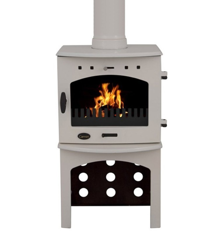 Carron Cream Enamel 4.7kW Multi Fuel Stove With Log Store: modern  by Direct Stoves, Modern