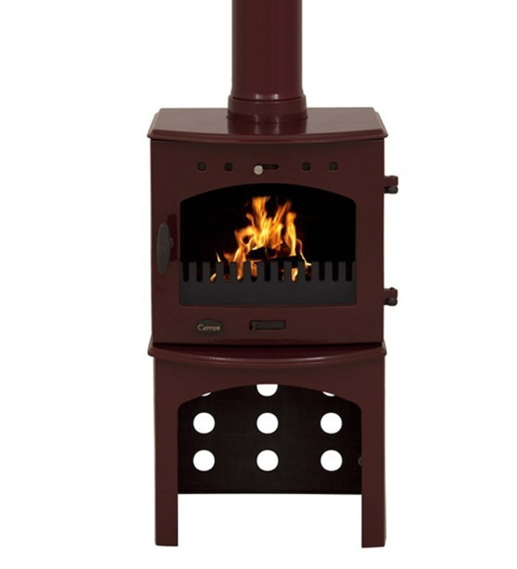 Carron Red Enamel 4.7kW Multi Fuel Stove With Log Store: modern  by Direct Stoves, Modern