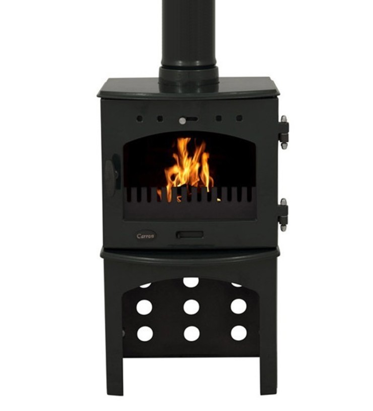 Carron Green Enamel 4.7kW Multifuel Stove With Log Store: modern  by Direct Stoves, Modern