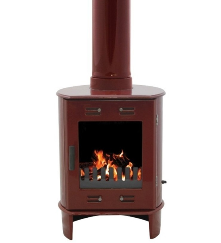 Carron Dante Red Enamel 5kW Multifuel DEFRA Approved Stove: modern  by Direct Stoves, Modern
