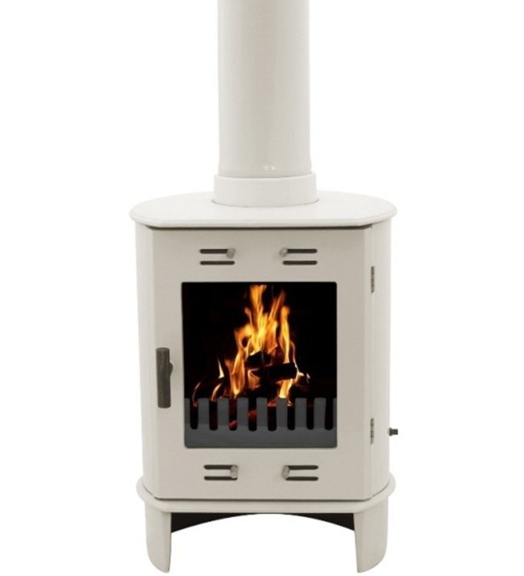 Carron Dante Cream Enamel 5kW Multifuel DEFRA Approved Stove: modern  by Direct Stoves, Modern