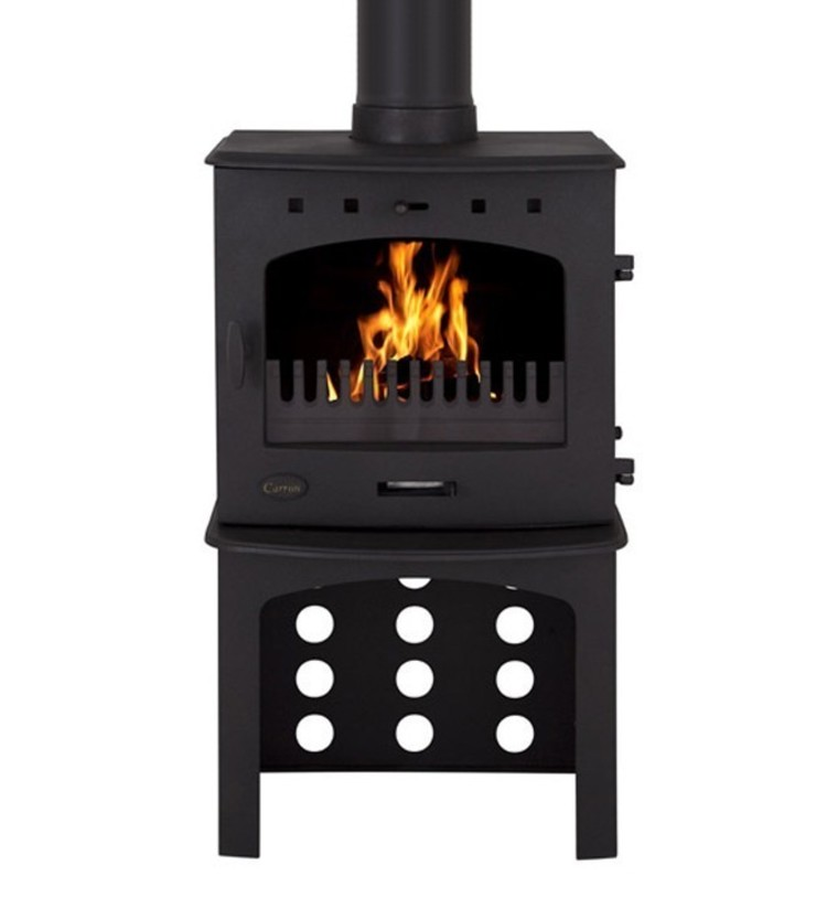 Carron Matt Black Enamel 7.3kW Multifuel DEFRA Approved Stove With Log Store: modern  by Direct Stoves, Modern