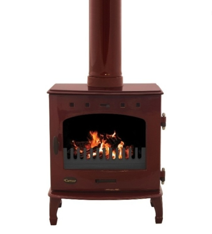 Carron Red Enamel 7.3kW Multifuel DEFRA Approved Stove: modern  by Direct Stoves, Modern