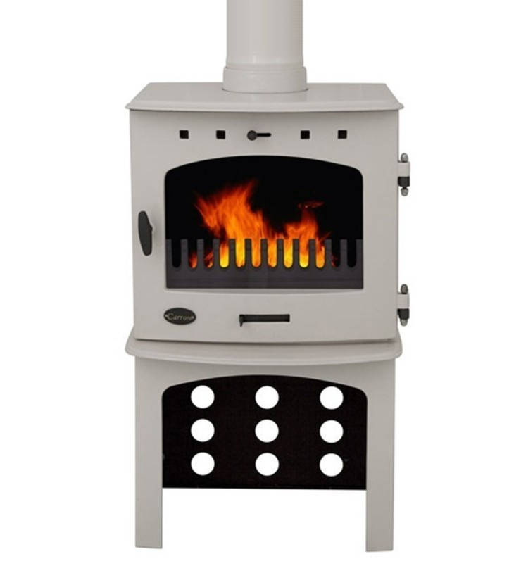 Carron Cream Enamel 7.3kW Multifuel DEFRA Approved Stove With Log Store: modern  by Direct Stoves, Modern