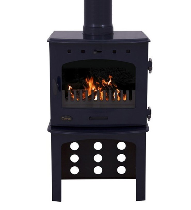 Carron Blue Enamel 7.3kW Multifuel DEFRA Approved Stove With Log Store: modern  by Direct Stoves, Modern