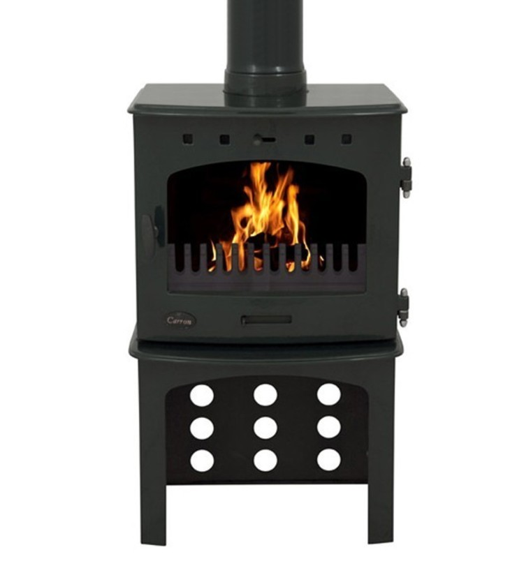 Carron Green Enamel 7.3kW Multifuel DEFRA Approved Stove With Log Store: modern  by Direct Stoves, Modern