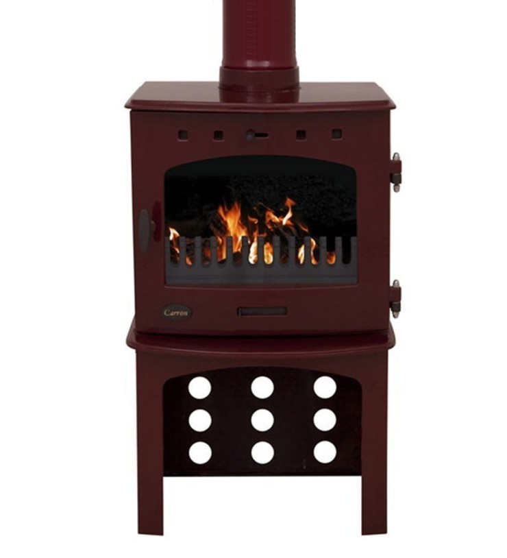 Carron Red Enamel 7.3kW Multifuel DEFRA Approved Stove With Log Store: modern  by Direct Stoves, Modern