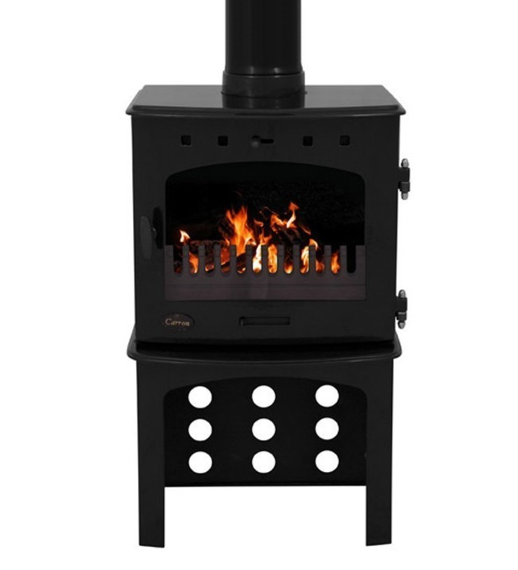 Carron Black Enamel 7.3kW Multifuel DEFRA Approved Stove With Log Store: modern  by Direct Stoves, Modern