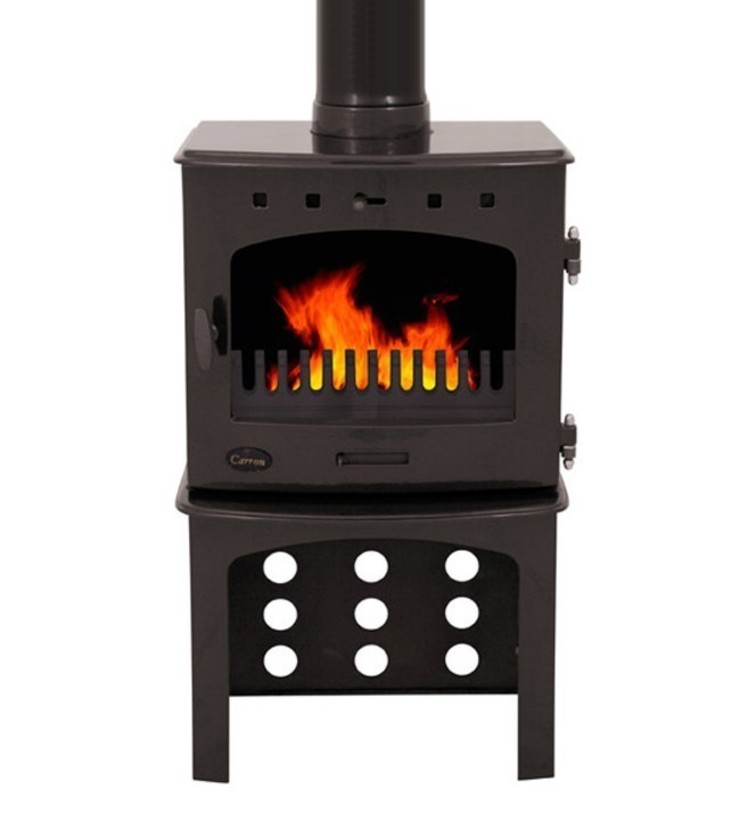 Carron Pebble Enamel 7.3kW Multifuel DEFRA Approved Stove With Log Store: modern  by Direct Stoves, Modern