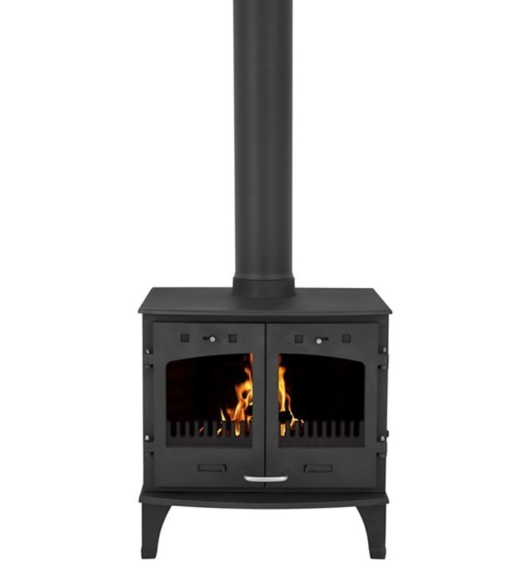 Carron Matt Black Double Door 11kW Multifuel DEFRA Approved Stove: modern  by Direct Stoves, Modern