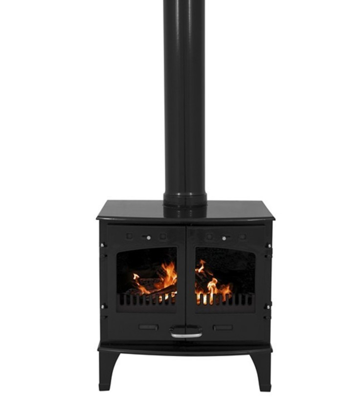 Carron Black Double Door 11kW Multifuel DEFRA Approved Stove: modern  by Direct Stoves, Modern