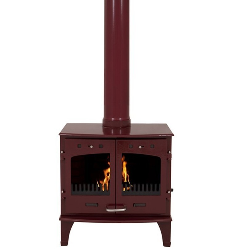 Carron Red Enamel Double Door 11kW Multifuel DEFRA Approved Stove: modern  by Direct Stoves, Modern