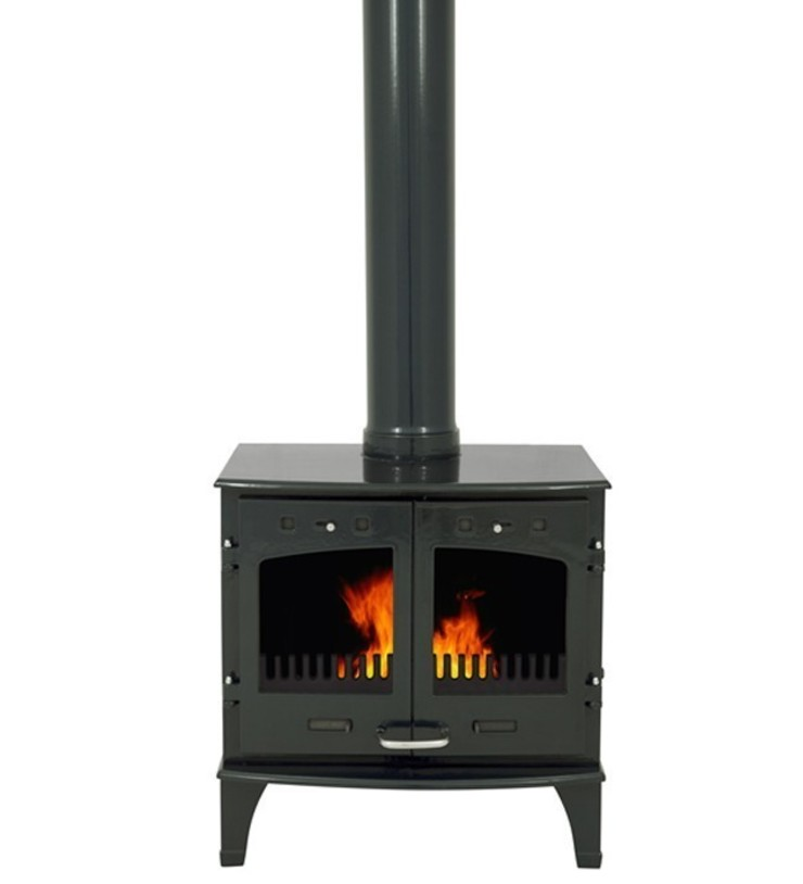 Carron Green Enamel Double Door 11kW Multifuel DEFRA Approved Stove: modern  by Direct Stoves, Modern
