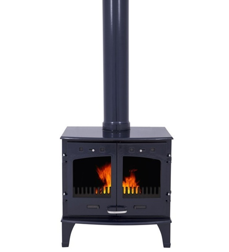 Carron Blue Enamel Double Door 11kW Multifuel DEFRA Approved Stove: modern  by Direct Stoves, Modern