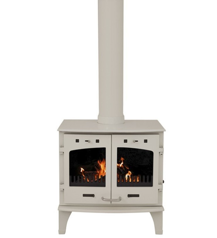 Carron Cream Enamel Double Door 11kW Multifuel DEFRA Approved Stove: modern  by Direct Stoves, Modern