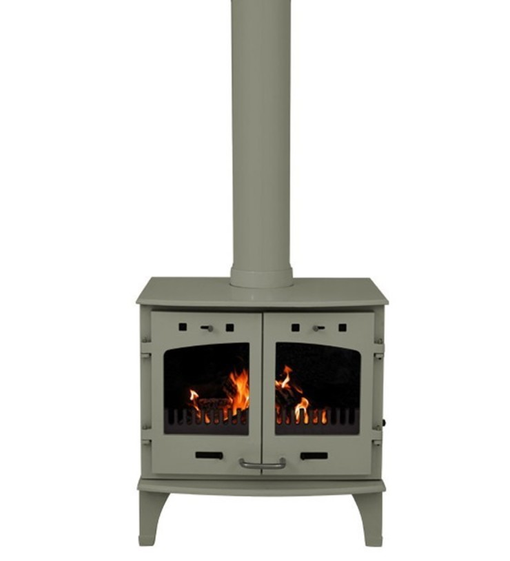 Carron Sage Green Enamel Double Door 11kW Multifuel DEFRA Approved Stove: modern  by Direct Stoves, Modern