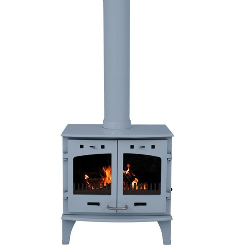 Carron China Blue Enamel Double Door 11kW Multifuel DEFRA Approved Stove: modern  by Direct Stoves, Modern