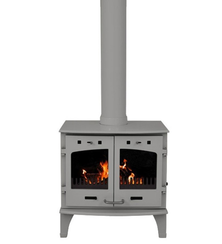 Carron Ash Grey Enamel Double Door 11kW Multifuel DEFRA Approved Stove: modern  by Direct Stoves, Modern