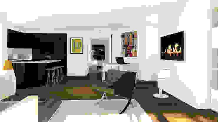 Appartement en attique, Suisse Salon minimaliste par Sandra Hisbèque Minimaliste