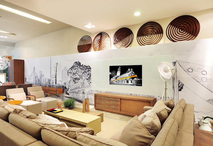 Дома в эклектичном стиле от Adriana Scartaris: Design e Interiores em São Paulo Эклектичный