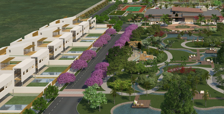 Central gardened square Modern Houses by FG ARQUITECTES Modern