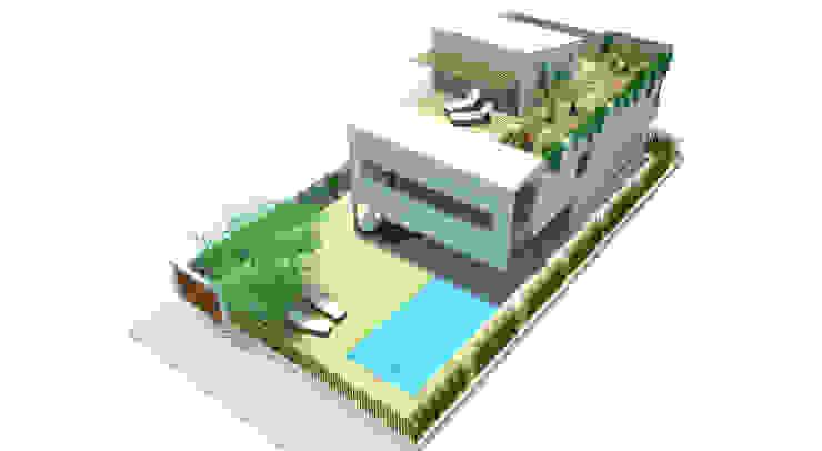 Vista aérea fachada principal y jardín Casas de estilo moderno de FG ARQUITECTES Moderno