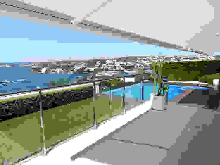 Terraza hacia el jardín Balcones y terrazas de estilo moderno de FG ARQUITECTES Moderno