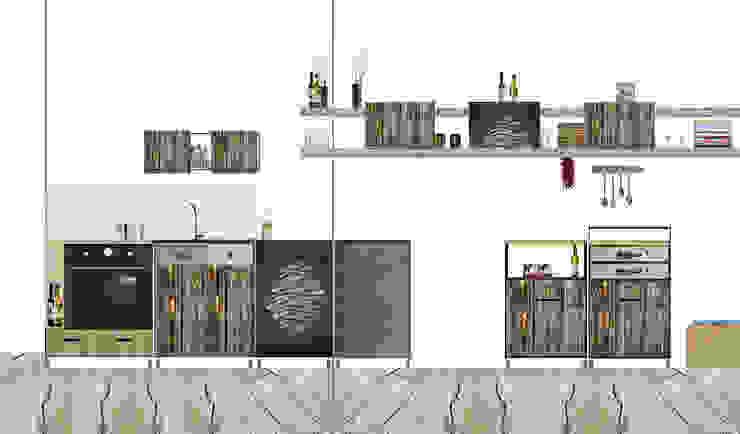 Bewegende Küche – Entwurfscollage von Frau Caze Rustikal