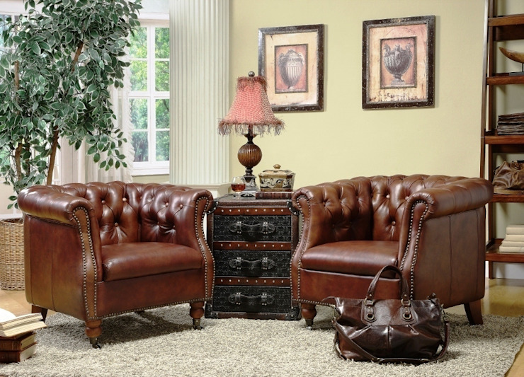 Chesterfield Inspired Leather Armchair: classic  by Locus Habitat,Classic