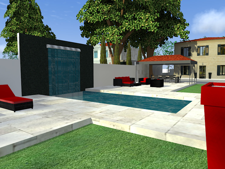 Création d'une piscine en 2 espaces distincts Piscine moderne par AZ Createur d'intérieur Moderne