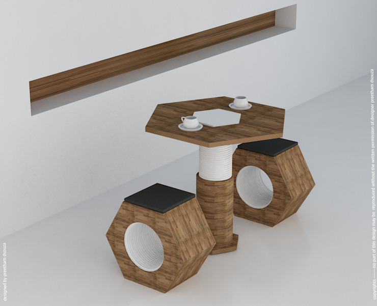 Coffee table 2 seater --- concept Nut & Bolt Preetham Interior Designer Balconies, verandas & terraces Furniture