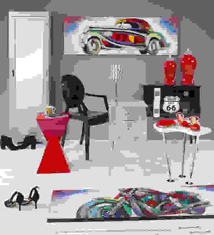 Ambiente rojo y negro Salones de estilo moderno de Actúa Decor Moderno
