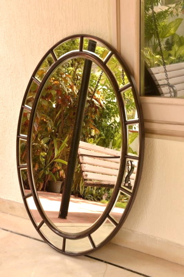 Bespoke Beveled Oval Mirror for a Moroccan Residence: modern  by Alguacil & Perkoff Ltd., Modern