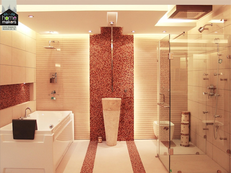 Stunning bathroom:  Bathroom by home makers interior designers & decorators pvt. ltd.