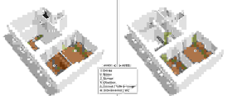 Maquette Existant / Projet Maisons minimalistes par Emilie Marx Minimaliste