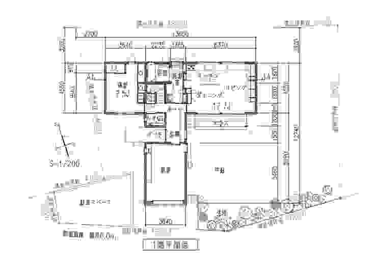 1階平面図: 田所裕樹建築設計事務所が手掛けたミニマリストです。,ミニマル