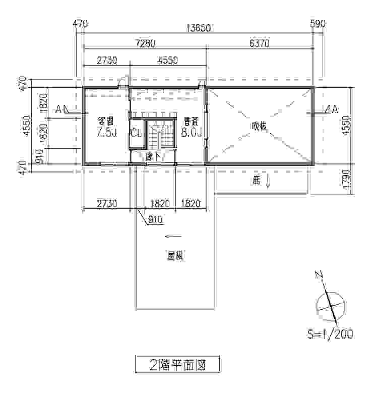 2階平面図: 田所裕樹建築設計事務所が手掛けたミニマリストです。,ミニマル