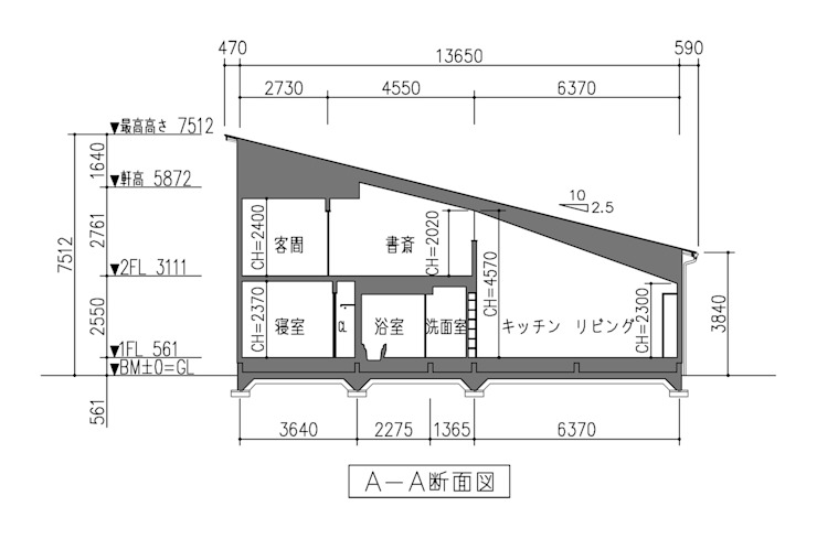 断面図: 田所裕樹建築設計事務所が手掛けたミニマリストです。,ミニマル