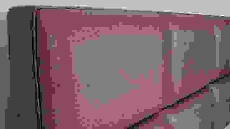 detail FreshBed hoofdbord uitgevoerd in Sahco Hesslein meubelstof Nandu van FreshBed Klassiek