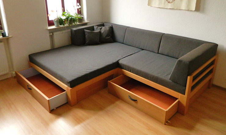 sofa mit viel Stauraum: modern  von TRaumkonzepte Raumausstattung und Polsterei,Modern